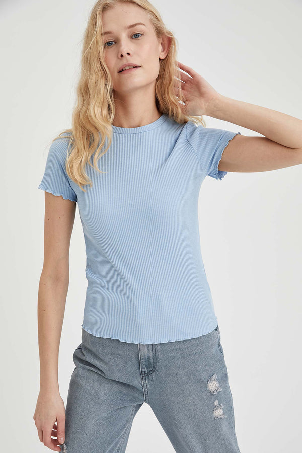 Crew Neck Short Sleeve T-Shirt - Blue