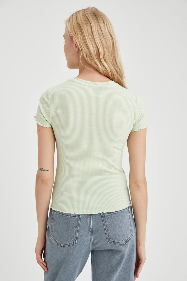 Crew Neck Short Sleeve T-Shirt - Green