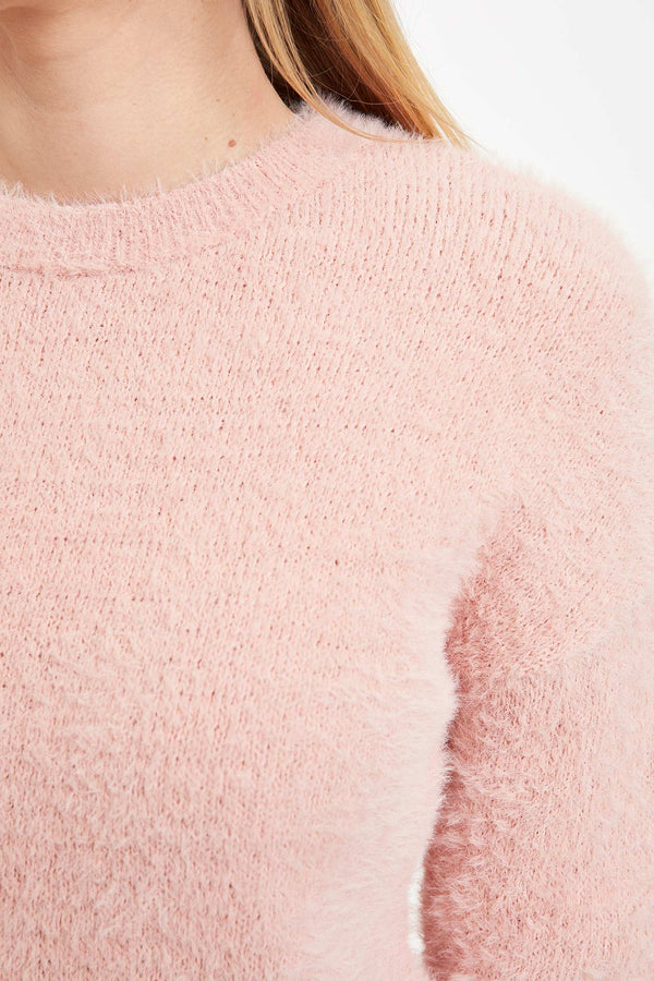 Regular Fit Crew Neck Tricot Pullover - Pink