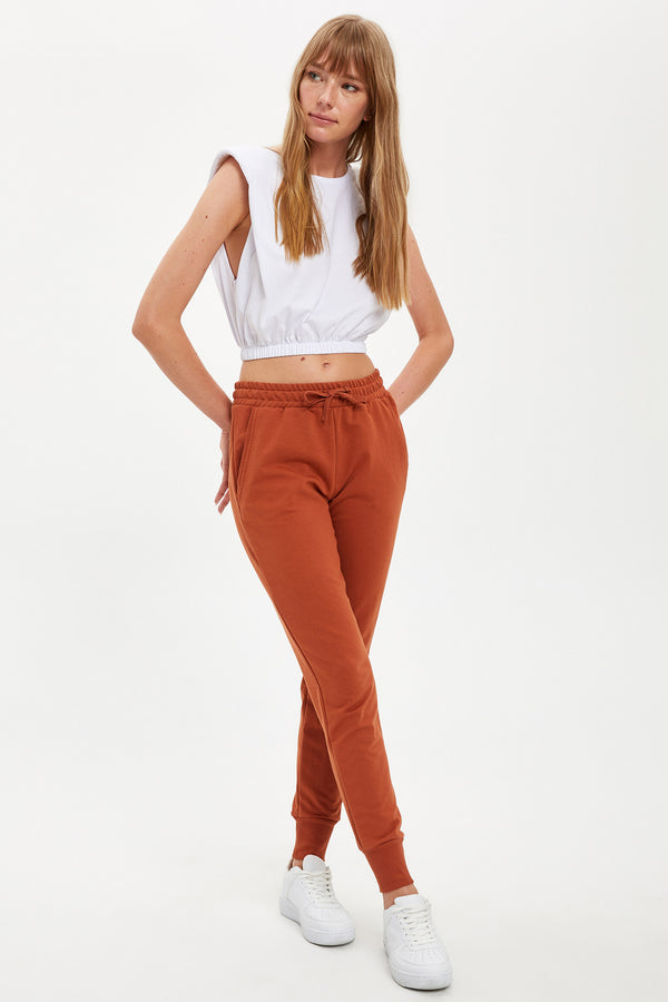 Regular Fit Knitted Trousers - Orange