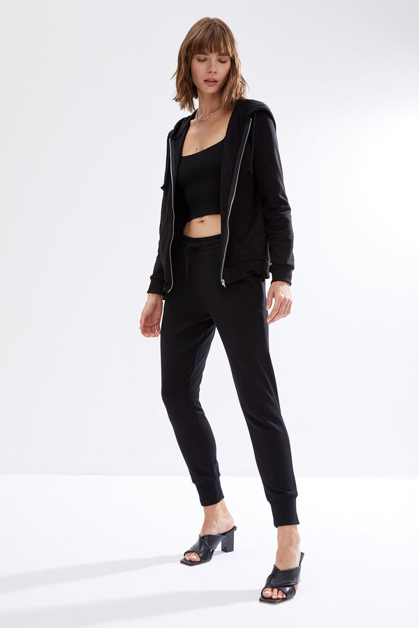 Regular Fit Hooded Knitted Cardigan - Black