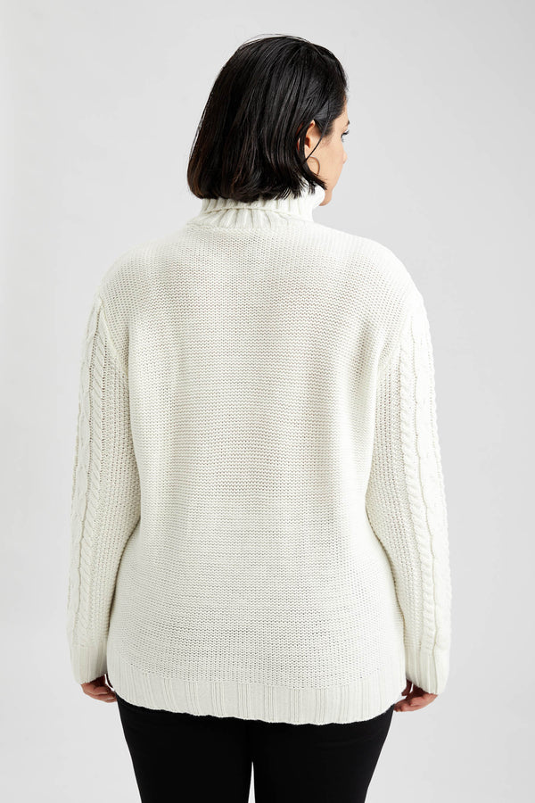 Regular Fit Turtle Neck Long Sleeve Tricot Pullover - Ecru