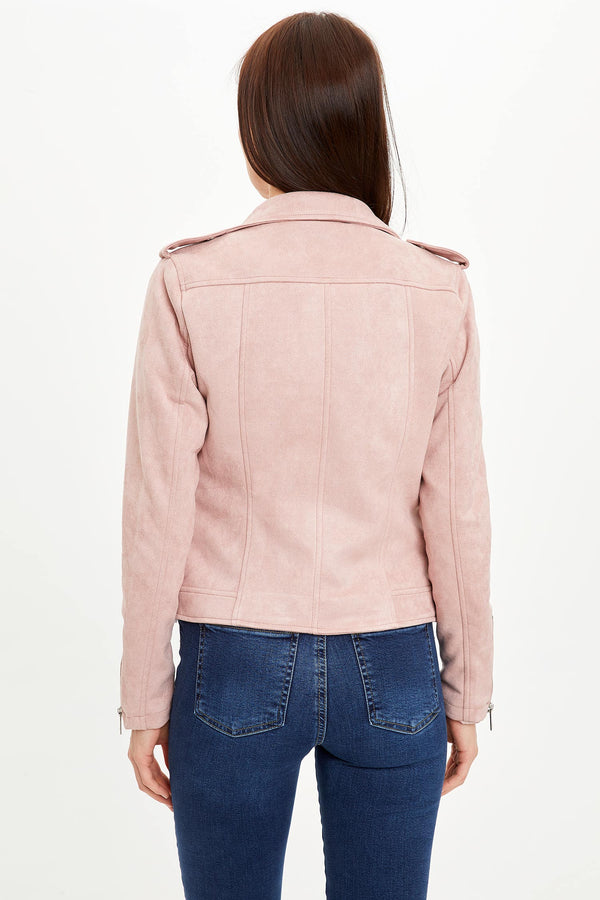 Zippered Faux Leather Jacket - Pink