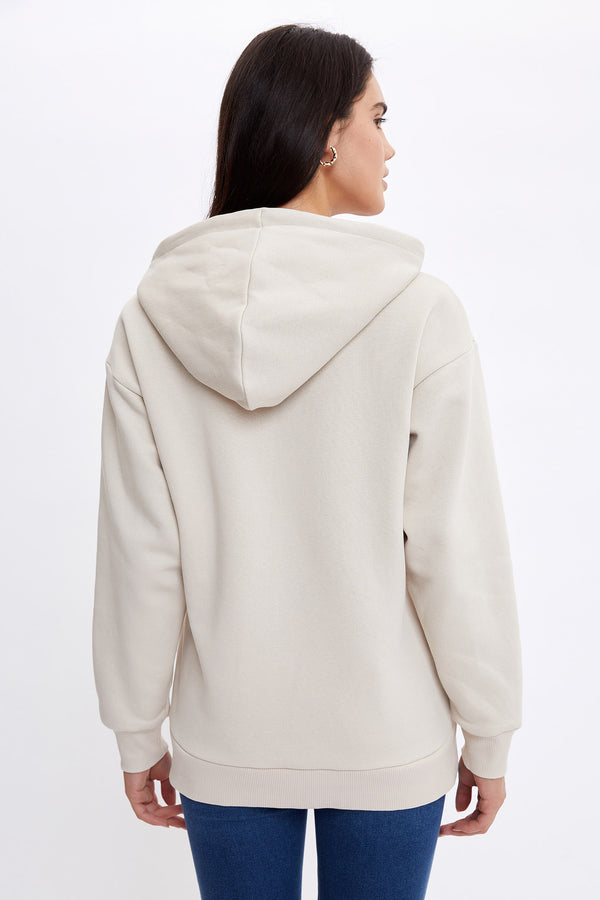 Loose Fit Hooded Sweatshirt - Beige