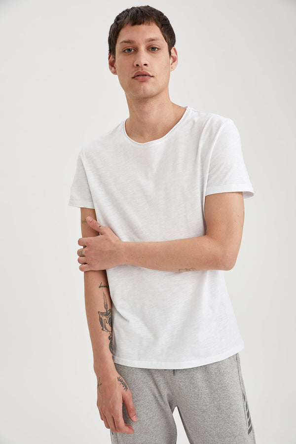 Slim Fit Crew Neck Short Sleeve Knitted T-Shirt - White