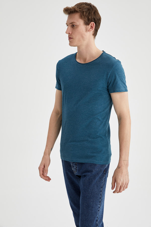 Slim Fit Crew Neck Short Sleeve Knitted T-Shirt - Green