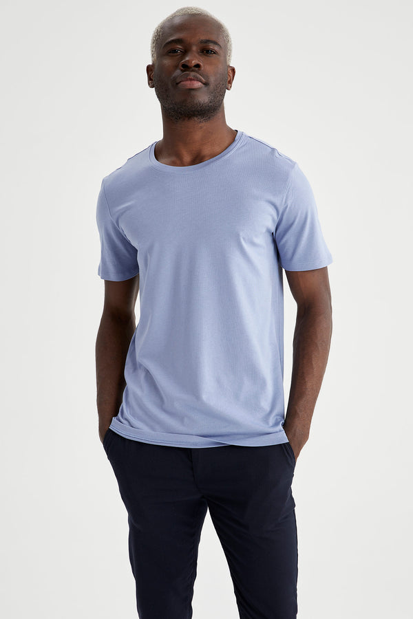 Slim Fit Crew Neck Short Sleeve Knitted T-Shirt - Blue