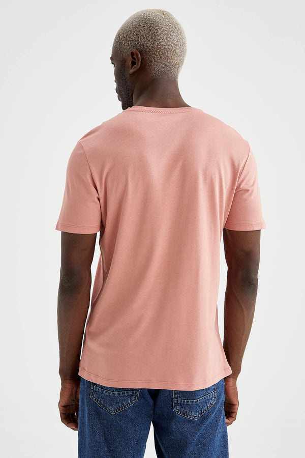 Slim Fit Crew Neck Short Sleeve Knitted T-Shirt - Pink