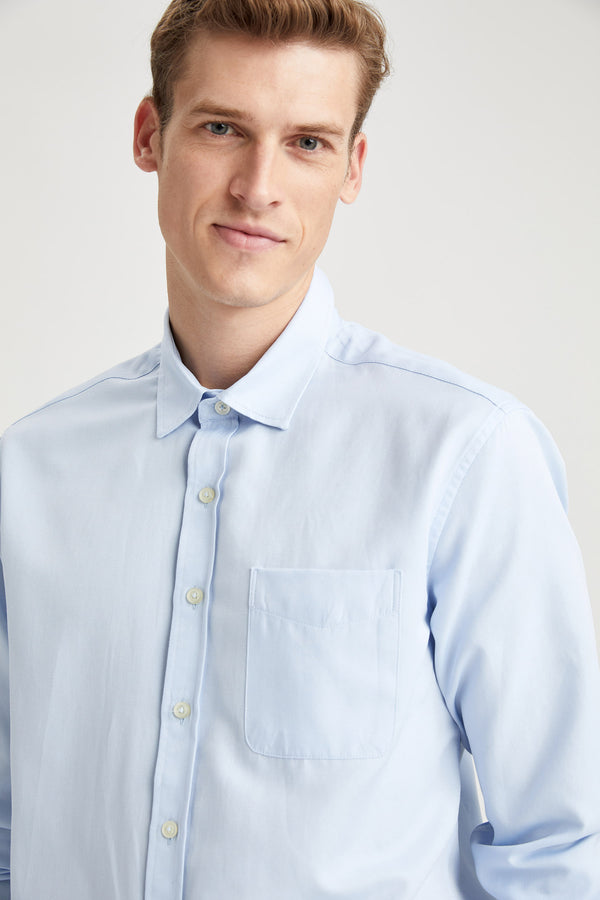 Slim Fit Polo Neck Woven Long Sleeve Shirt - Blue
