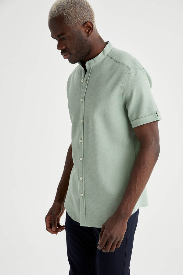 Regular Fit Stand Up Collar Woven Short Sleeve Shirt - Green