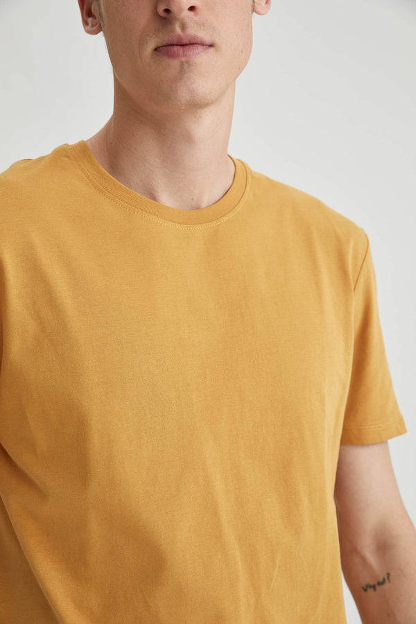 Regular Fit Knitted T-Shirt - Yellow