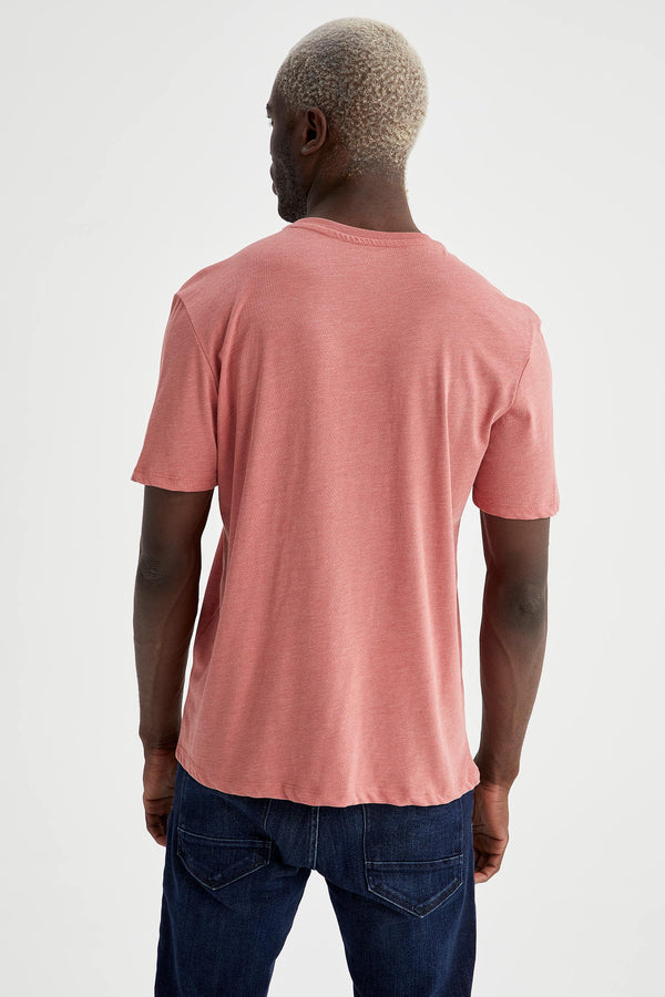 Regular Fit Knitted T-Shirt - Orange