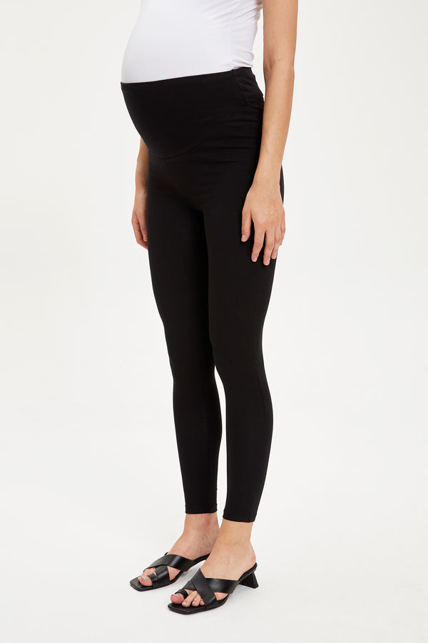 Skinny Fit High Waist Knitted Maternity Bottoms - Black