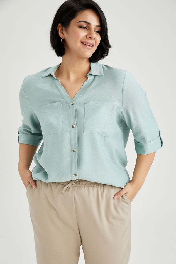 Regular Fit Woven Long Sleeve Shirt - Turquoise