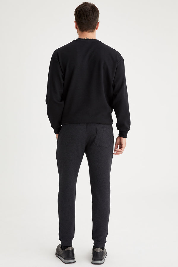 Skinny Fit Knitted Trousers - Anthracite