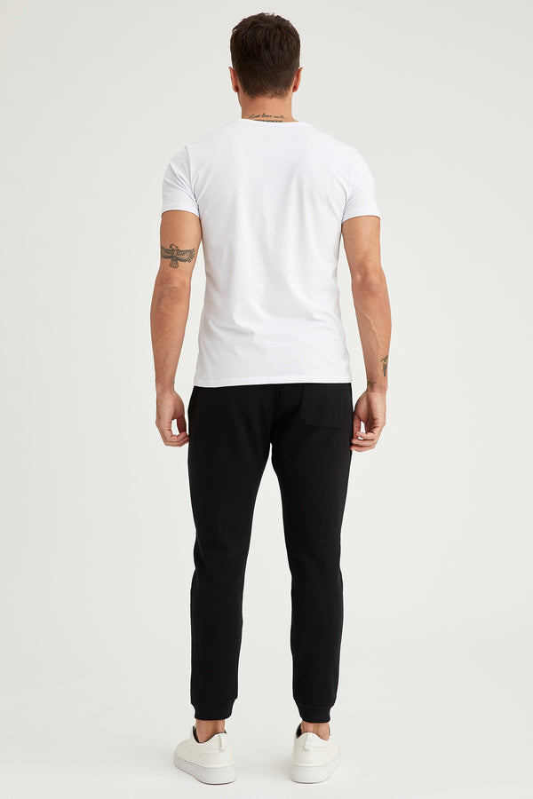 Skinny Fit Knitted Trousers - Black