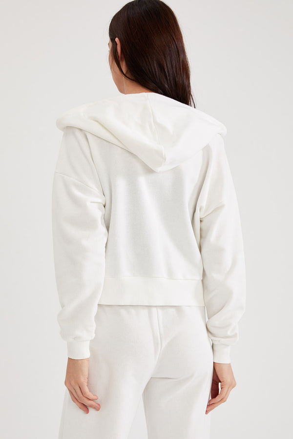 Regular Fit Hooded Knitted Cardigan - White