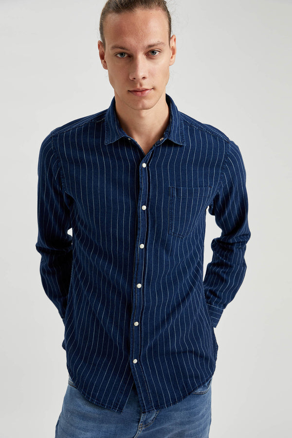 Slim Fit Denim Long Sleeve Shirt - Blue