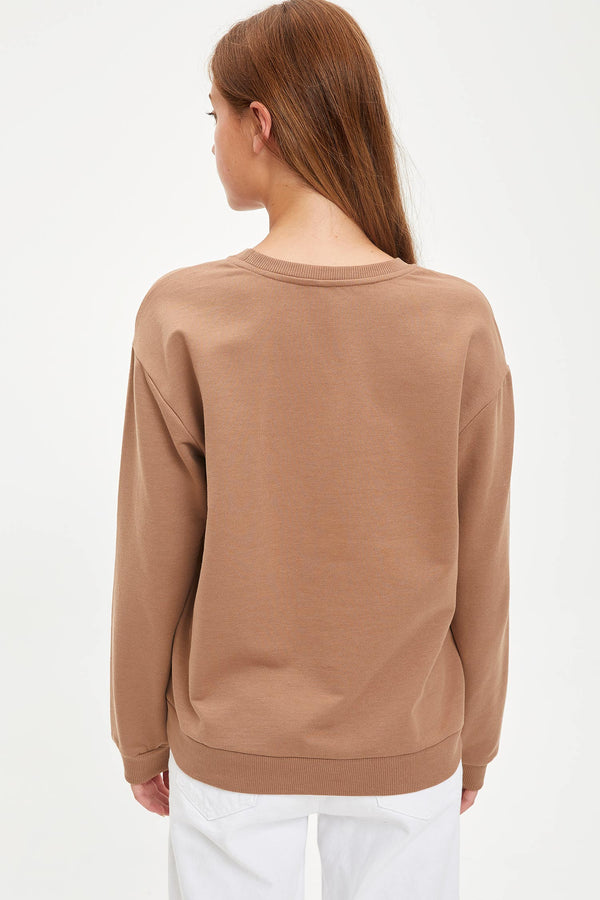 Regular Fit Crew Neck Sweatshirt - Beige