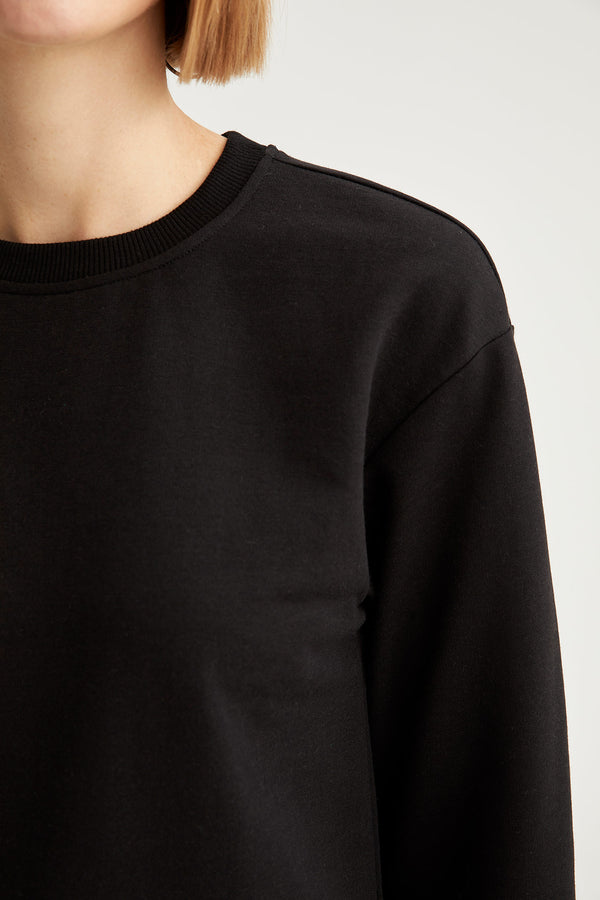 Regular Fit Crew Neck Sweatshirt - Black