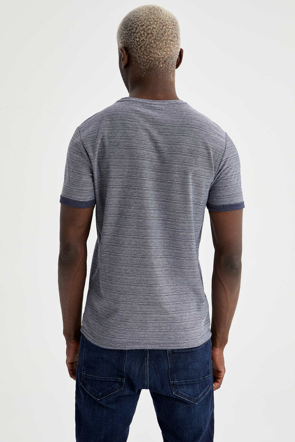 Slim Fit Knitted T-Shirt - Navy