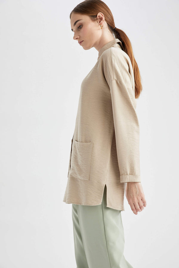 Relax Fit Long Sleeve Woven Tunic - Beige