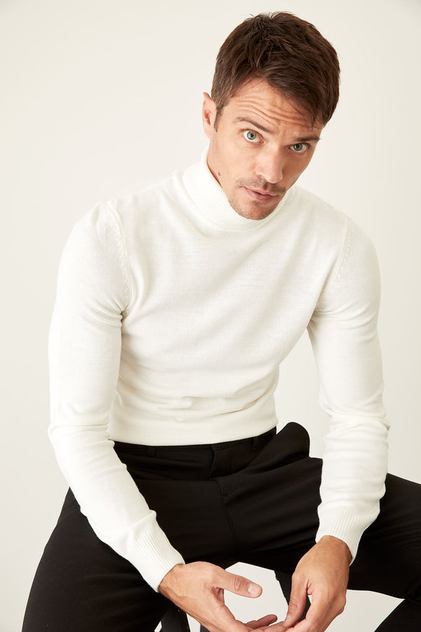 Slim Fit Half Turtle Neck Long Sleeve Tricot Pullover - Ecru
