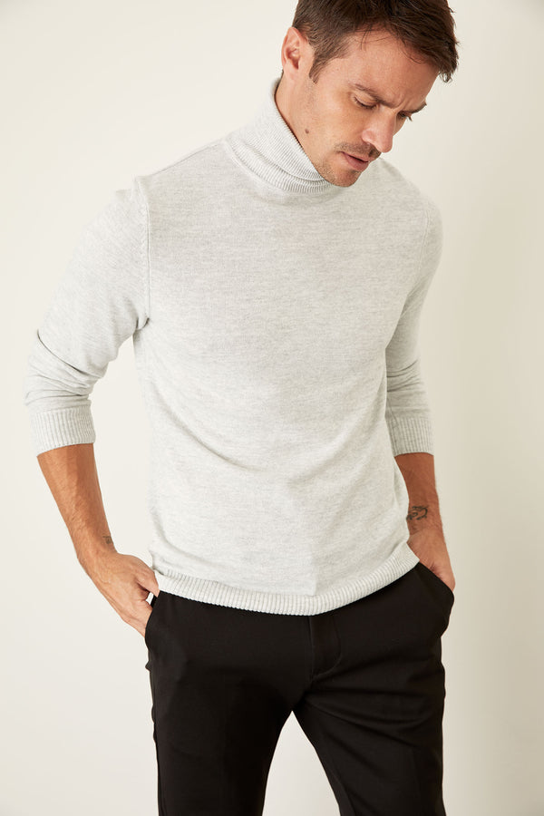 Slim Fit Half Turtle Neck Long Sleeve Tricot Pullover - Grey