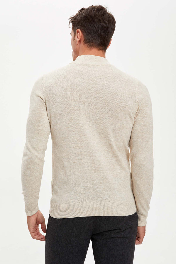Slim Fit Half Turtle Neck Long Sleeve Tricot Pullover - Beige