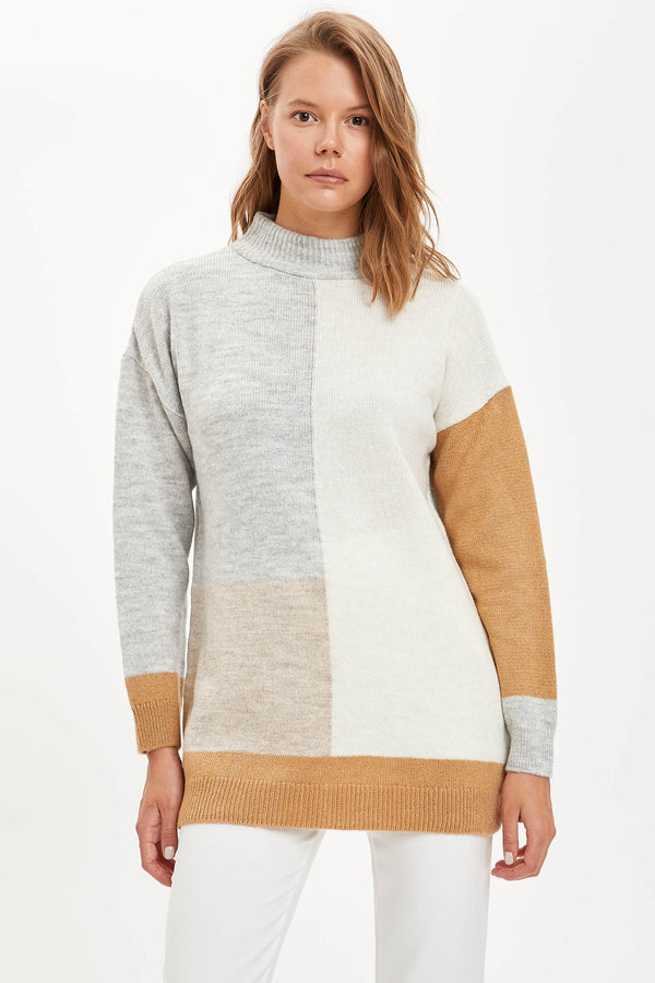 Regular Fit Half Turtle Neck Long Sleeve Tricot Tunic - Brown