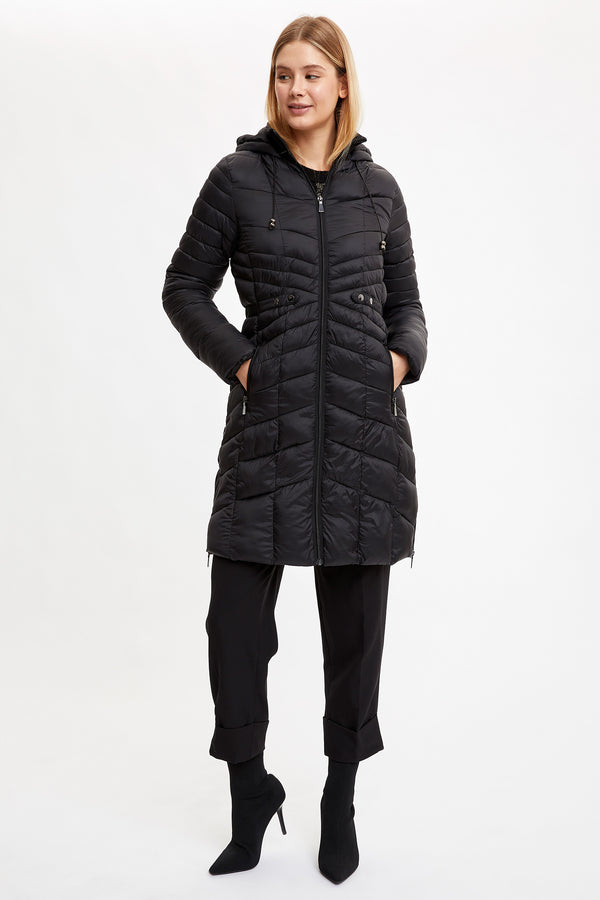 Regular Fit Coat Parka - Black