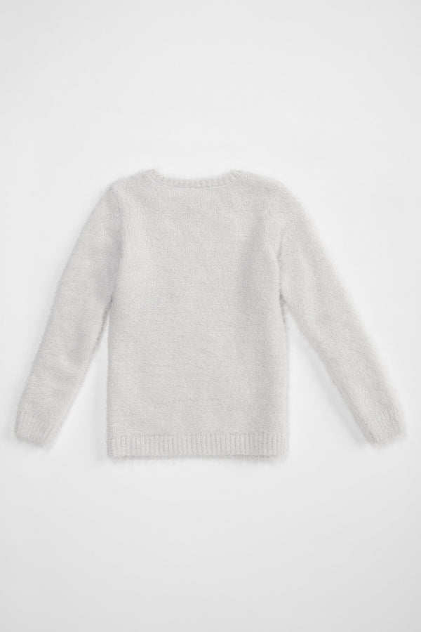 Regular Fit Crew Neck Tricot Pullover - Grey