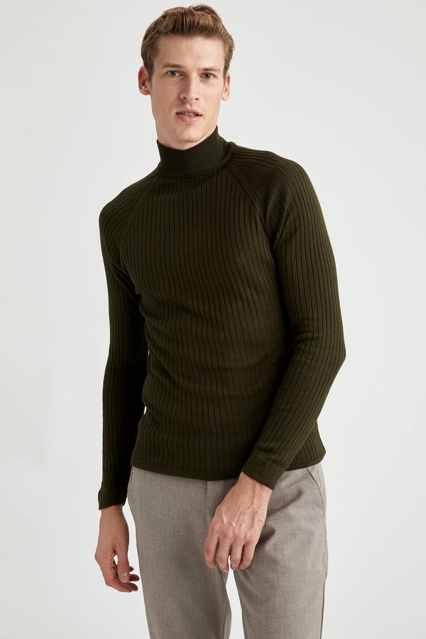 Slim Fit Turtle Neck Long Sleeve Tricot Pullover - Khaki