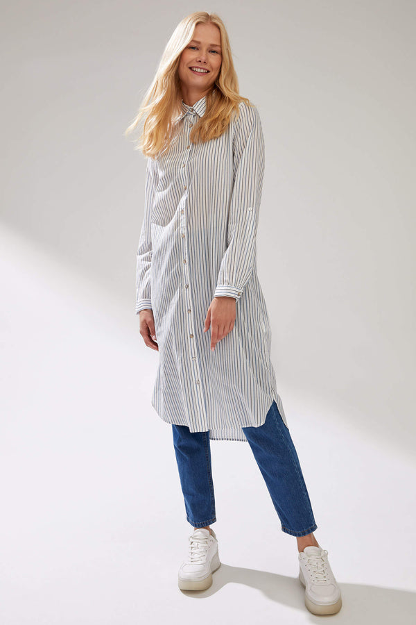 Relax Fit Long Sleeve Woven Tunic - Ecru