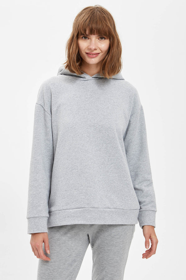 Regular Fit Hooded Sweatshirt - Grey