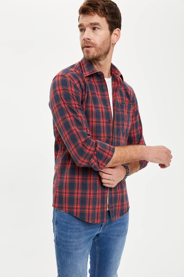 Polo Neck Woven Long Sleeve Shirt - Red
