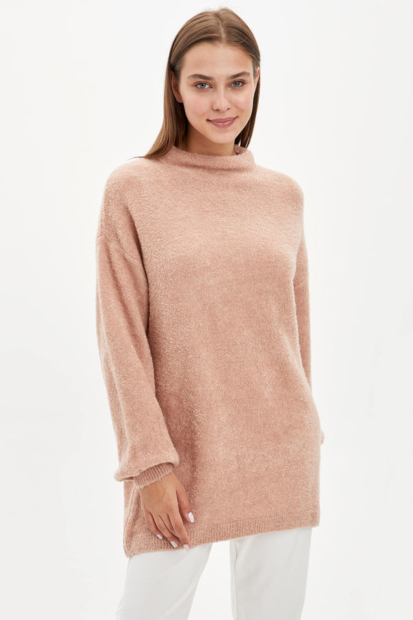 Relax Fit Long Sleeve Tricot Tunic - Pink