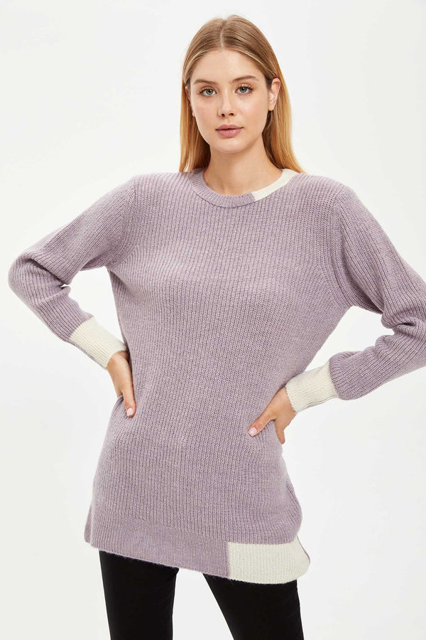 Regular Fit Long Sleeve Tricot Tunic - Pink