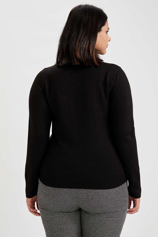 Regular Fit Half Turtle Neck Long Sleeve Tricot Pullover - Black