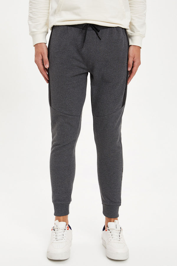 Slim Fit Rib Hems Knitted Trousers - Grey