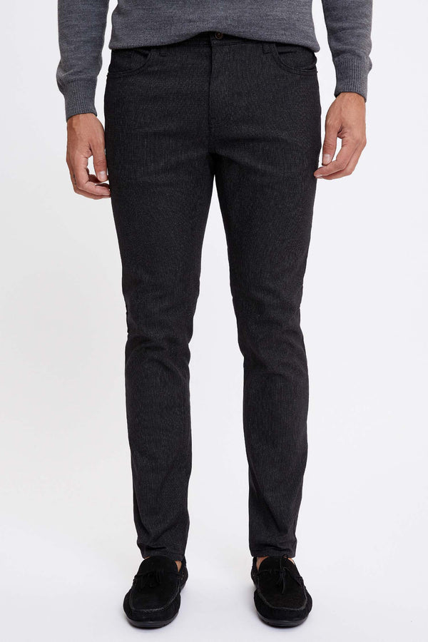 Slim Fit Woven Trousers - Black