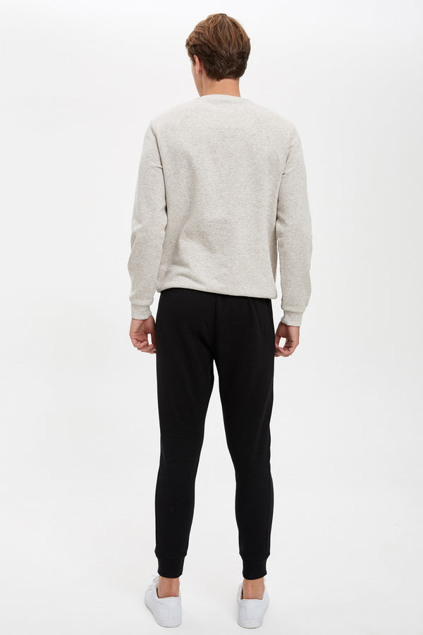 Slim Fit Rib Hems Knitted Trousers - Black