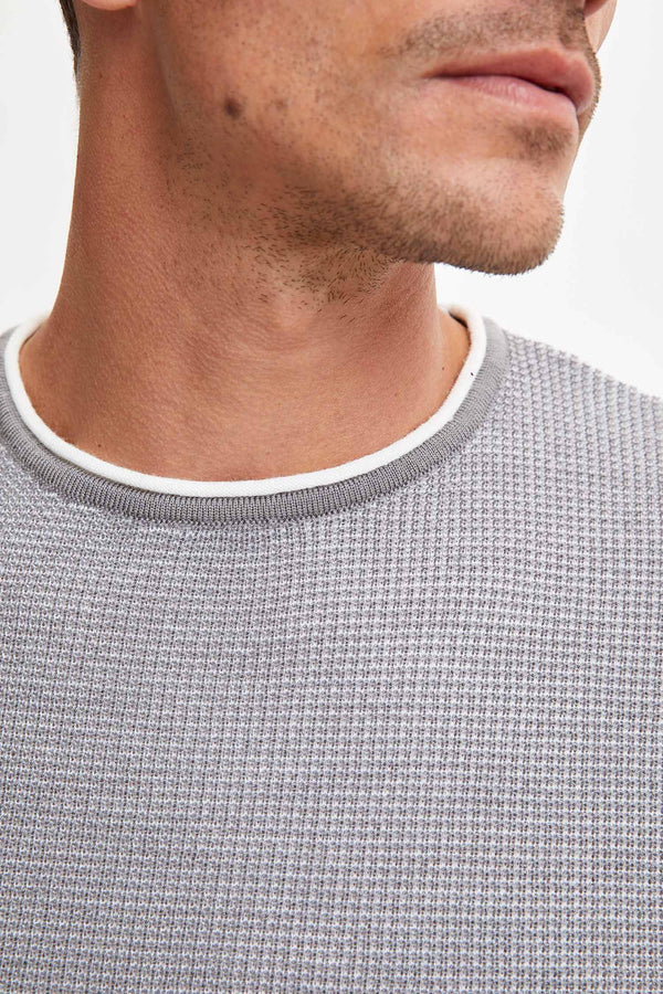 Slim Fit Crew Neck Long Sleeve Tricot Pullover - Grey