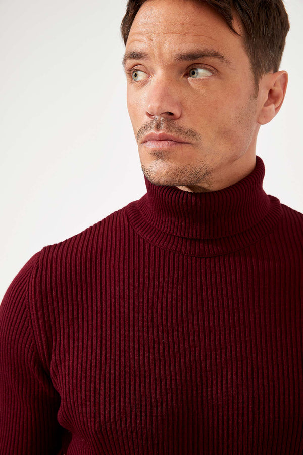 Slim Fit Turtle Neck Long Sleeve Tricot Pullover - Bordeaux