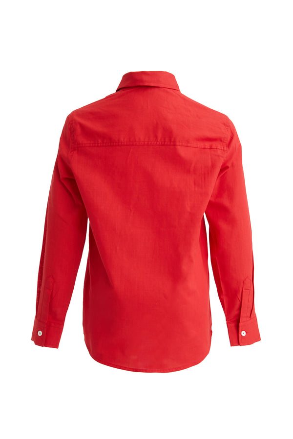 Regular Fit Polo Neck Woven Long Sleeve Shirt - Red