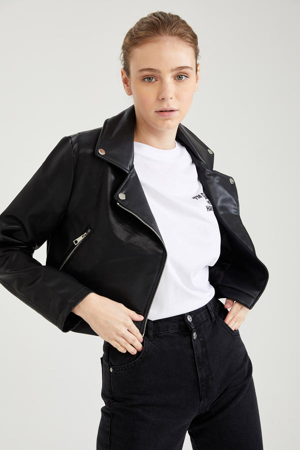 Regular Fit Faux Leather Coat - Black