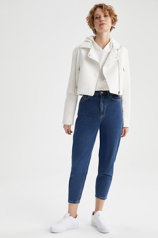 Regular Fit Faux Leather Coat - White