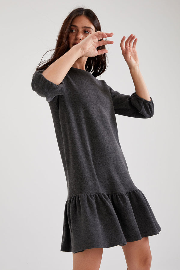 Relax Fit Long Sleeve Knitted Dress - Anthracite