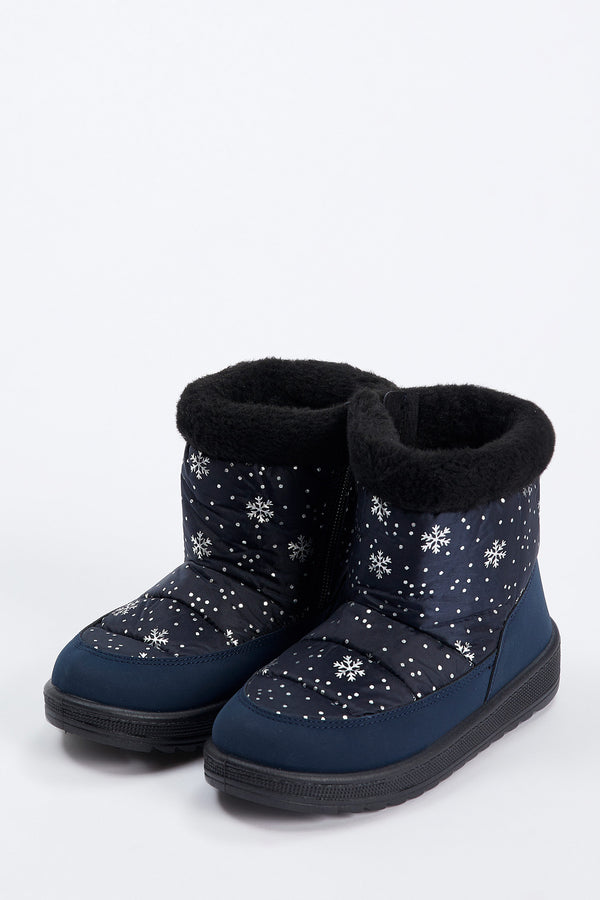 Girl Print Boots - Navy