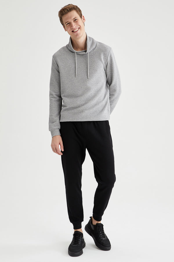Slim Fit Shawl Neck Sweatshirt - Grey